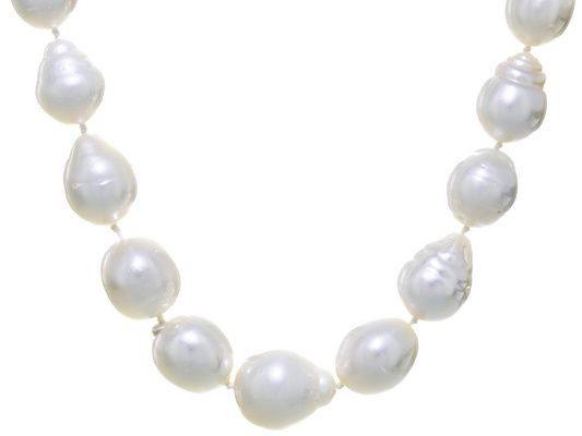 12-15mm Baroque White Cultured South Sea Pearl Sterling Silver 19 Inch