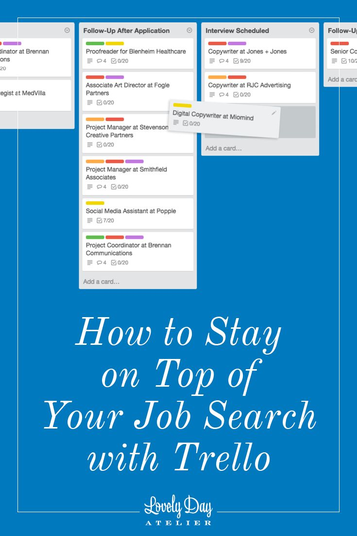 Stay On Top Of Your Job Search With Trello  Template Project
