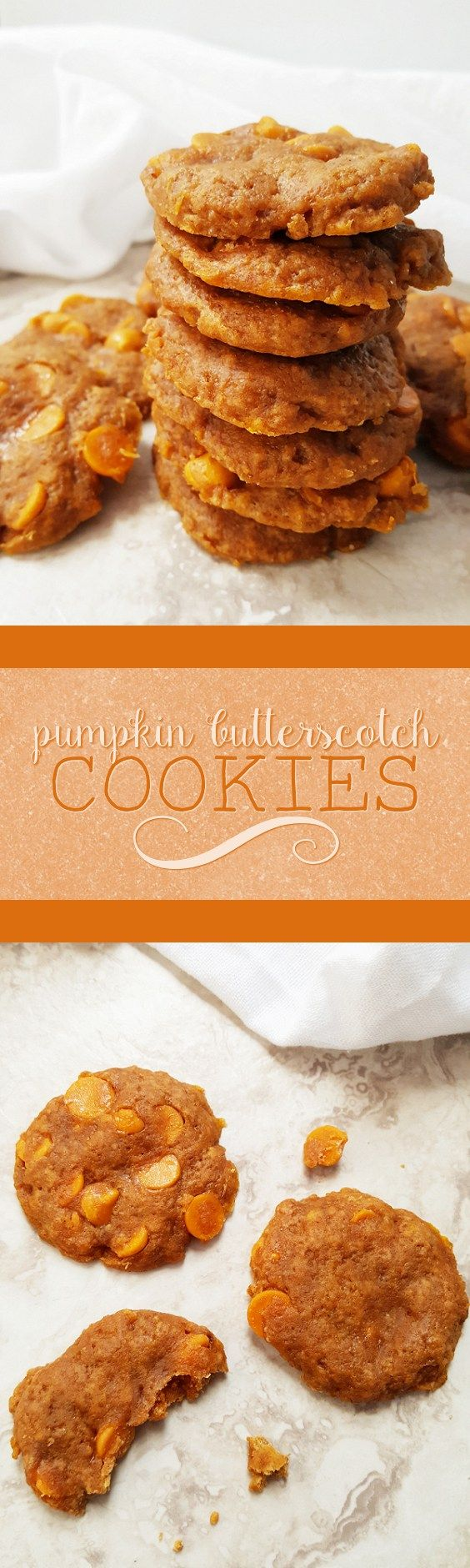 {Healthy; Low Calorie} Sweet and soft and healthy enough for breakfast, these pumpkin butterscotch cookies are perfect for any occasion!