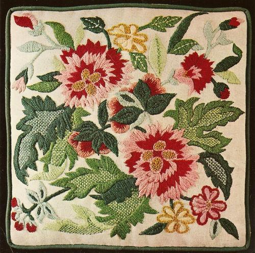 """Mazaltov's """"Antique Floral"""" Pink Jacobean Flowers Crewel"""