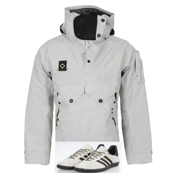 Game, set and match! - MA.Strum Sniper Cagoule in Merchant White looks uber cool with Adi's Cancun - throw in a pair of black Edwin or Lois jeans for a totally cool terrace casual look
