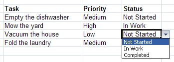 Creating dropdown options in Excel using named ranges and data validation