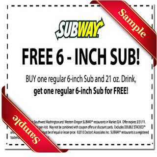 Printable subway Coupon November December 2015 2016