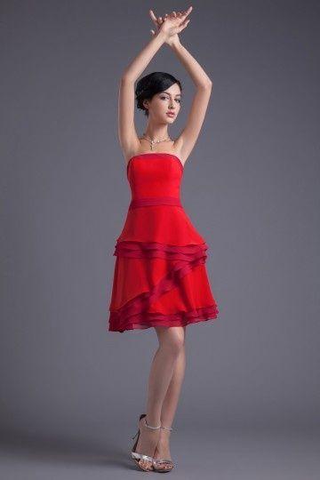 473853c8ea0 Petite rouge robe pour cortège mariage bustier droite à volants ...
