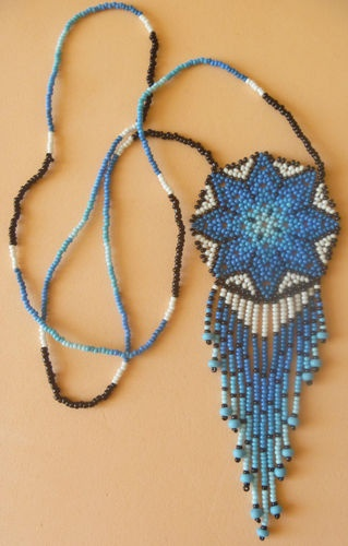 HUICHOL CULTURE BEADED NECKLACE MEXICO FOLK ART PEYOTE STAR | eBay