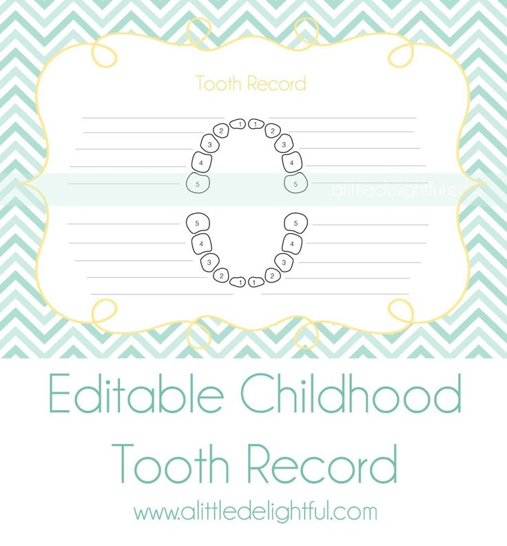 I thought it would also be nice to keep a record of all the lost teeth on one record sheet so I made one of those up to keep in our scrapbooks.