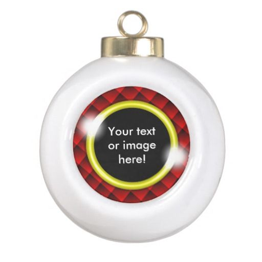 Red Black Diamond Squares 3D Gold Frame Christmas Ornament - This design features fading red and black 3D squares with a gold frame in which to add your own text, image, photo or picture.