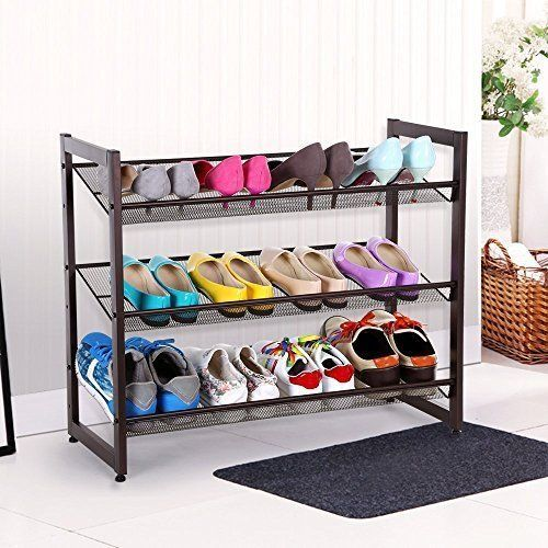 Shoes Rack Storage Organizer 3 Tier Metal Adjustable Floor Portable Stand New #ShoesRackOrganizer