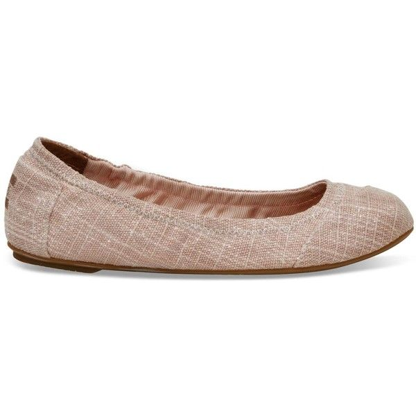 TOMS Pink Metallic Burlap Women's Ballet Flats Shoes ($89) ❤ liked on Polyvore featuring shoes, flats, pink metallic, ballet shoes, skimmer flats, ballerina pumps, ballerina shoes and pink metallic shoes