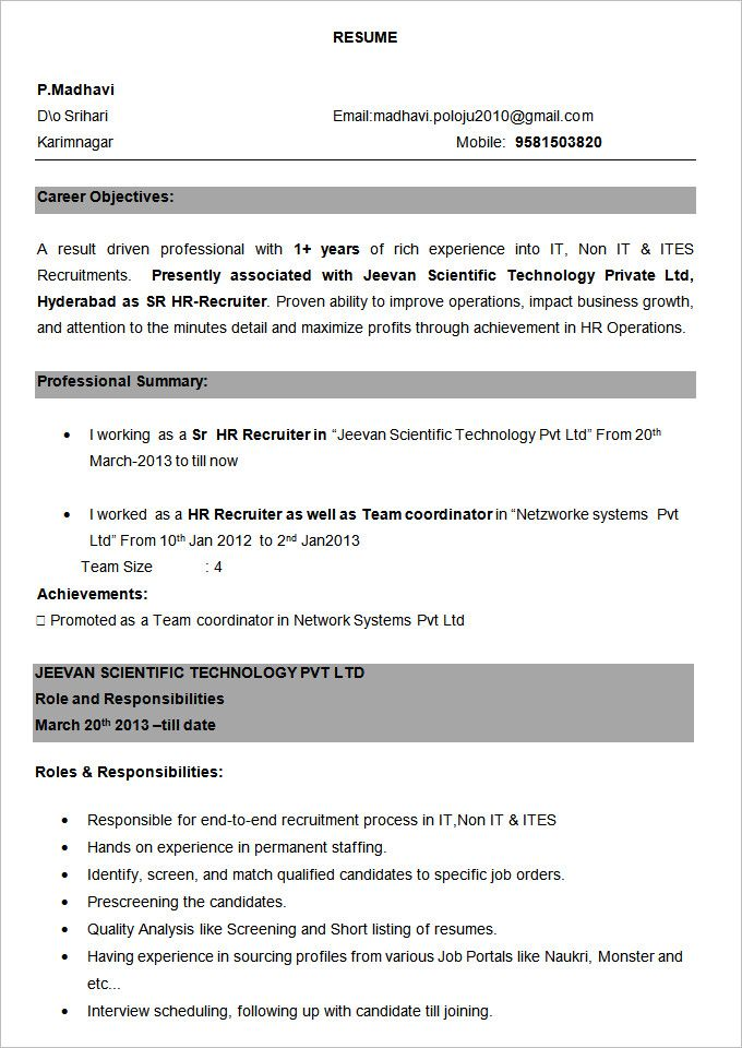 bpo resume template free samples examples format download sample experience modeling model