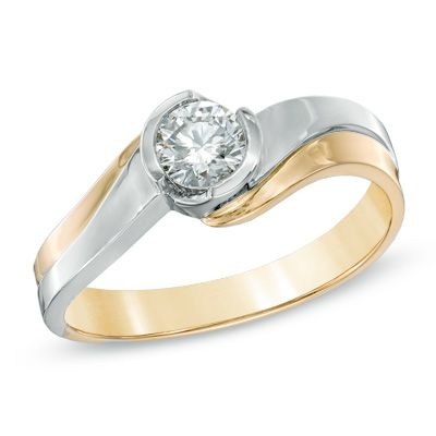 0.40 CT. Certified Canadian Diamond Solitaire Engagement Ring in 14K Two-Tone Gold (H-I/I1)