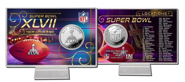 Super Bowl XLVII Commemorative Silver Coin Card  $29.95  A 4 inch x 6 inch acrylic coin holder features a color image of the Super Bowl XLVII Commemoration logo on the front and all the previous Super Bowl host locations listed on the back along with a 39mm minted Silver Plated Super Bowl 47 Commemorative Coin. Each coin is individually numbered on the edge. The Coin Card is a Limited Edition of 5000 and is officially licensed by the NFL. Made in the USA.