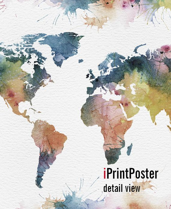 Ideal Welt Karte Poster Aquarell Welt abzubilden Art von iPrintPoster