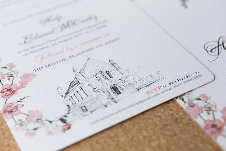 Soft roses wedding invitation