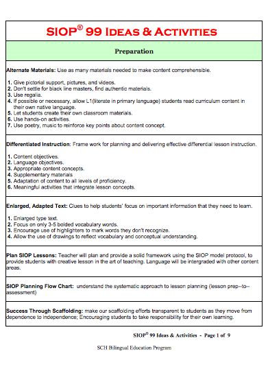 using sei strategies in siop lesson plans Creating-siop-lesson-plan-sei-strategies/ for esl 223n week 8 assignment creating a siop lesson plan using the siop lesson plan.