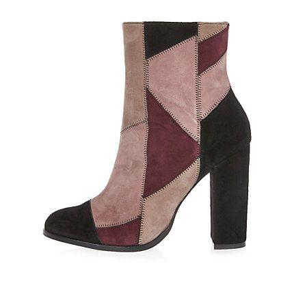 Pink suede patchwork block heel boots £90.00