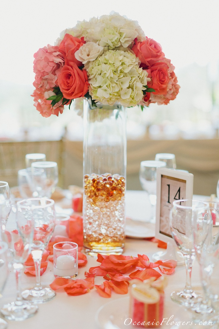 Coral, Pink, and White Large Centerpiece. I would love to add some color into the wooden centerpiece box with all the white flowers