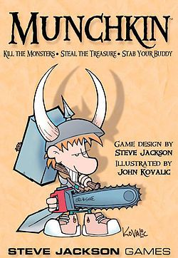 Munchkin! A tongue-n-cheek board game that skewers fantasy role-playing games like D & D! See the Wil Wheaton YouTube vid about the game...hilarious!