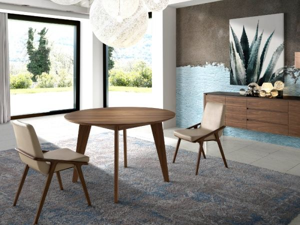 Modern Porto Lujo Round Walnut Dining Table Walnut Dining Table