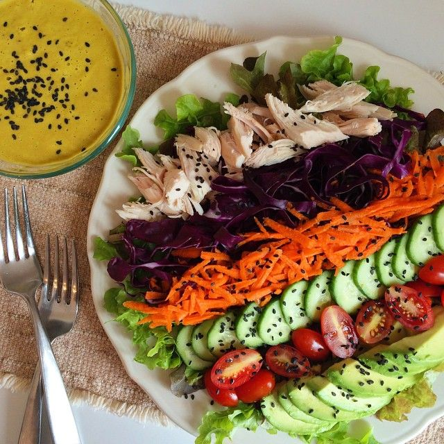 Paleo Asian Chicken Salad with Ginger Dressing