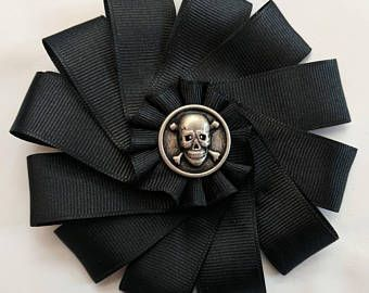 Skull and Crossbones Cockade - Ribbon Rosette - Pirate - Memento Mori