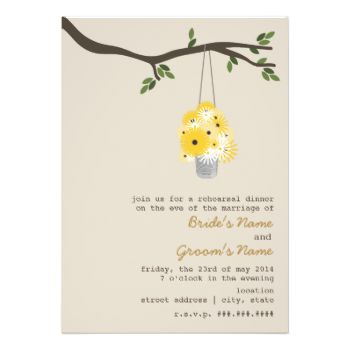 An outdoors wedding rehearsal dinner invitation featuring an illustration of a tin can filled with daisies and black eyed susans hanging from a tree branch with green leaves. Personalize the text with your information. #wedding #outdoor #wedding #tree #tin #can #rustic #daisies #black #eyed #susans #wilderness #rehearsal #dinner #rustic #rehearsal #dinner #branch