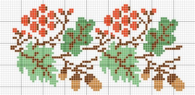 Oak cross-stitch pattern
