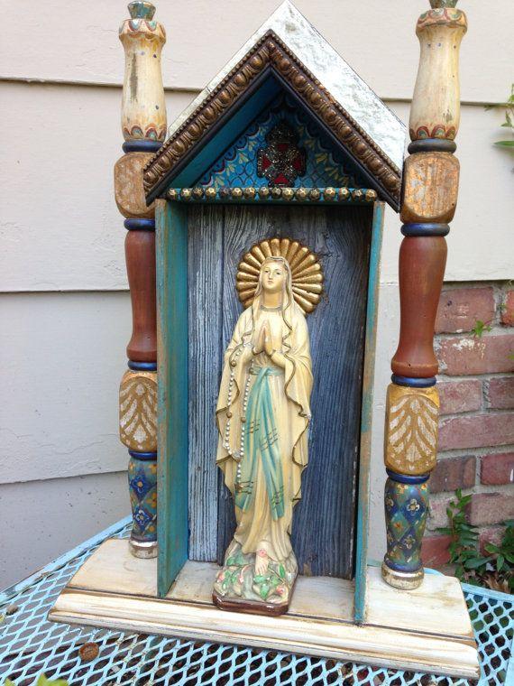 Retablo Nicho Assemblage Our Lady of Lourdes Niche by Art4thesoul