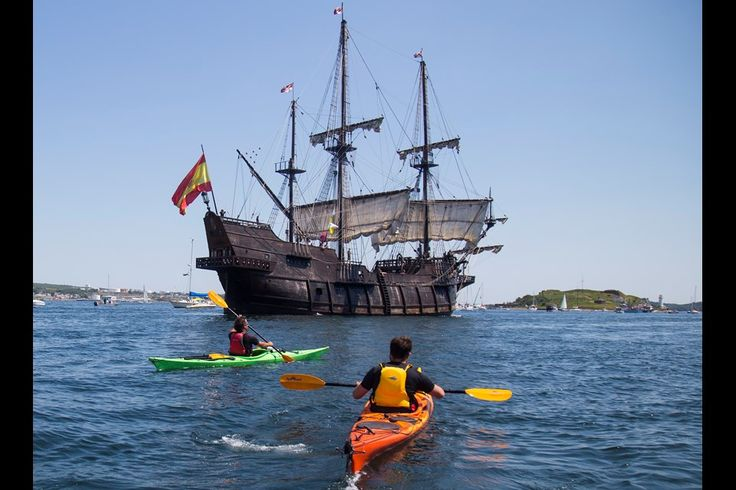 Kayakers paddle near the Spanish tall ship El Galeon as the Rendez-Vous 2017 Tall Ships Regatta wraps up in Halifax on Tuesday afternoon with the Parade of Sail. (RYAN TAPLIN / Local Xpress)
