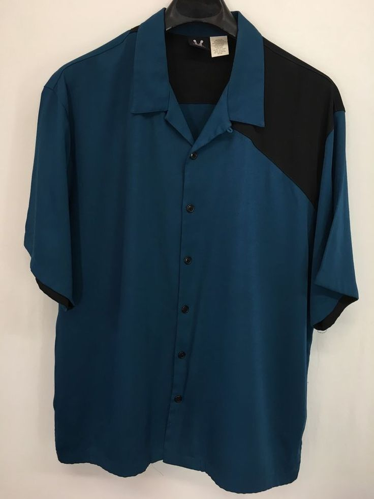MENS 2XL XXL HILTON BOWLING RETRO CASUAL SHIRT BLACK BLUE CAMP LOUNGE COCKTAIL #Hilton #ButtonFront