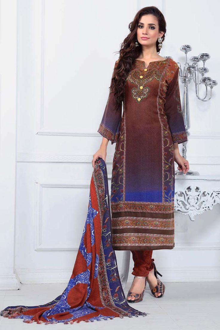 Brown Pashmina Churidar Suit
