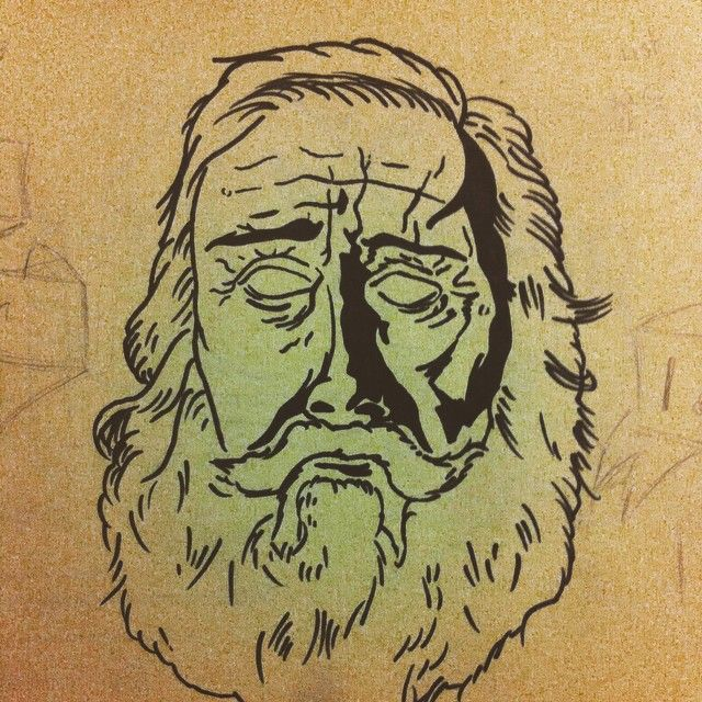 #old #man #beard #drawing #black #white #couldbemorewrinkly #stillnotdone #wip