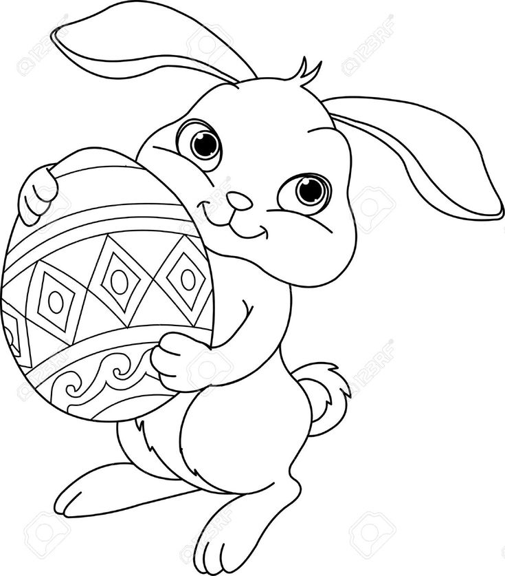 Buy The Royalty Free Stock Vector Image Illustration Of Happy Easter Bunny Carrying Egg Coloring Page Online All Rights Included High Resolution