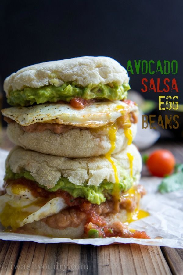 Huevos Rancheros Breakfast Sandwich with Avocado, Salsa, Egg and Beans. Oh, and CHEESE.