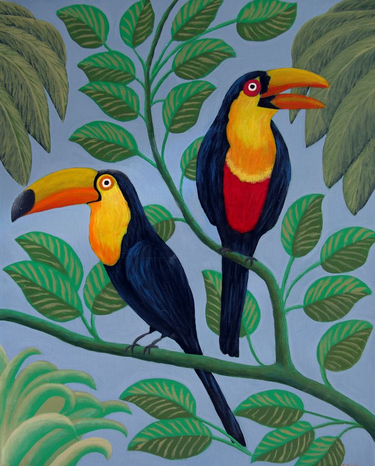 TOUCANS painting by Frederic Kohli. High quality Giclee prints available at http://frederic-kohli.artistwebsites.com.