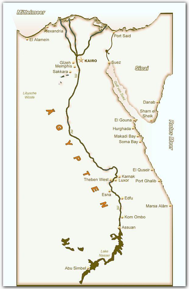 Ägypten Karte - Landkarte von Ägypten mit Ortschaften