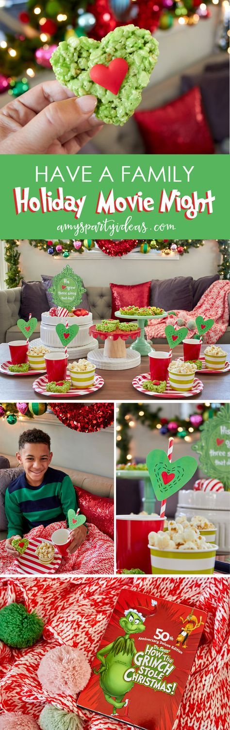 Have a Holiday Family Movie Night | SImple party ideas for movie night at home from AmysPartyIdeas.com | #TidingsAndTreats #ad | FREE Printables Grinch Movie