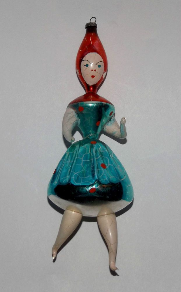VINTAGE ITALY CHRISTMAS Italian Blown Glass RARE Santa's Girl Elf TREE ORNAMENT