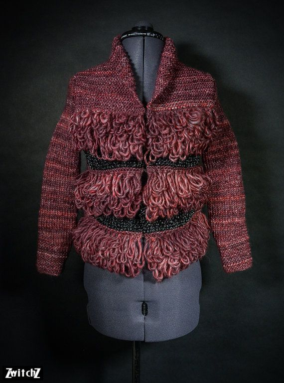 Thunderbird Red Knitted Jacket. Handmade with Pure Wool by ZwitchZ