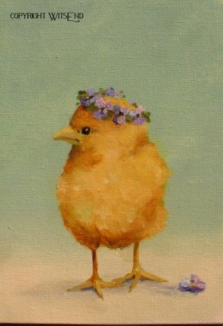 """""""Princess Violet"""",  Chick painting original ooak still life art FREE usa shipping. by WitsEnd,  via Etsy. SOLD"""