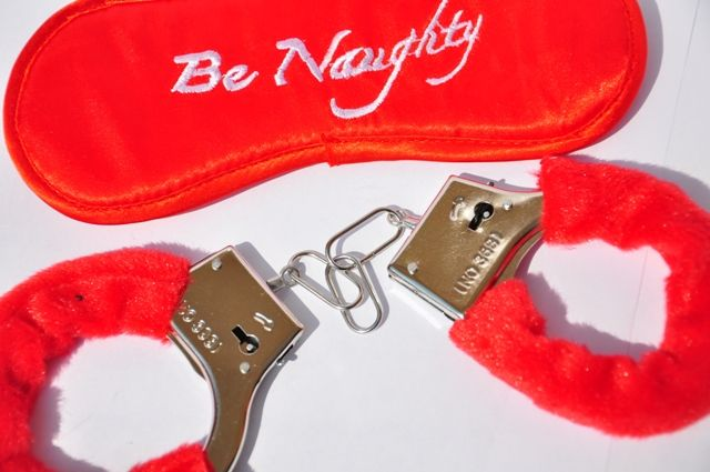 Be naughty handcuffs and blindfold at www.simplysexshop.co.uk