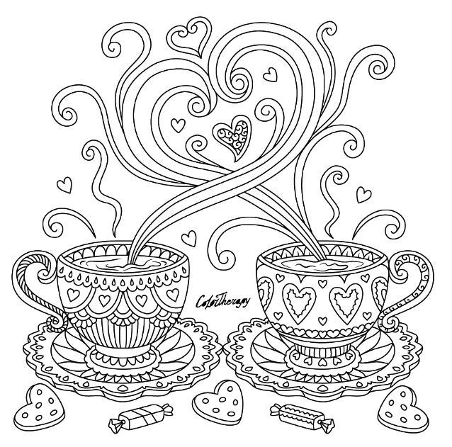 Coffee love coloring page | Color Therapy App. Try this app for Free! get.colortherapy.me