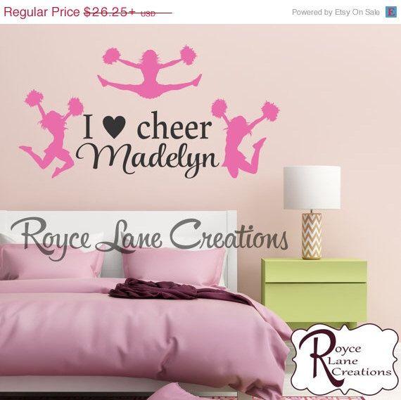 I Love Cheer Personalized Cheerleading Wall Decal Sports Wall Decal  Cheerleading Wall Decor Teen Girl Room Decor Cheerleader Decal