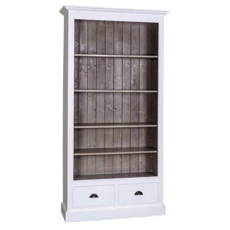 Libreria provenzale in legno massello colorato doppio cassetto e ripiani regolabili, da usare come modulo per libreria componibile MS126