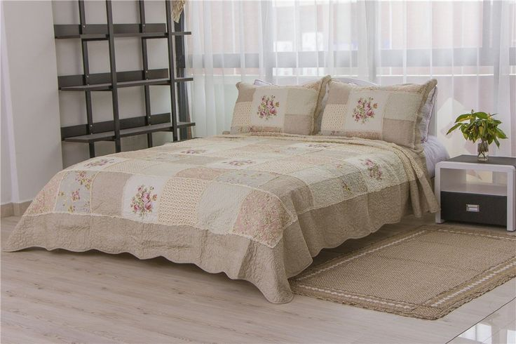Countryside Flower Patchwork Bedspread Quilt Sets Queen