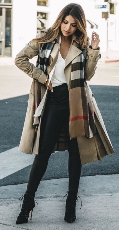 Trench with plaid scarf