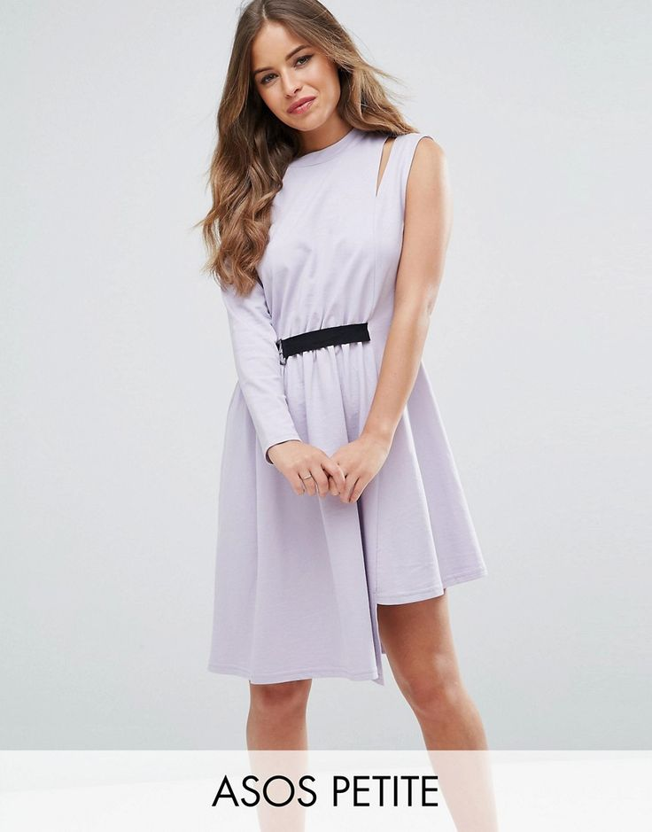 Get this Asos Petite's ring now! Click for more details. Worldwide shipping. ASOS PETITE One Shoulder Dress with D Ring - Purple: Petite dress by ASOS PETITE, Soft-touch cotton, Crew neck, Cut-out detail, D-ring belt, Button-keyhole back, Relaxed fit, Hand wash, 100% Cotton, Our model wears a UK 8/EU 36/US 4 and is 163 cm/5'4� tall, Midi dress length between: 105-110cm. 5�3�/1.60m and under? The London-based design team behind ASOS PETITE take all your fashion faves and cut them down to...