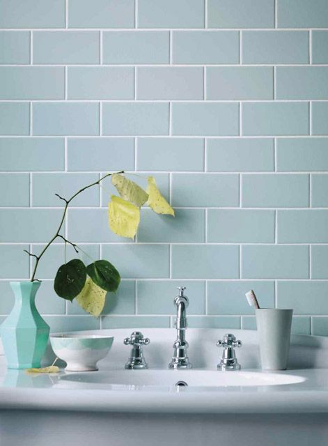 pale duck-egg blue brick tiles with crisp white and light timber is a classic colour combo