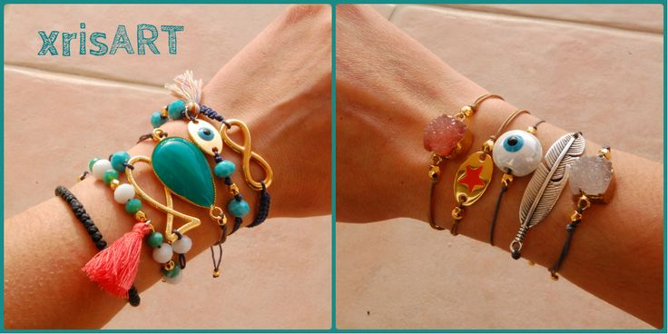 Handmade bracelets by xrisart!! #infinity #eye #stones #fish #star #feather