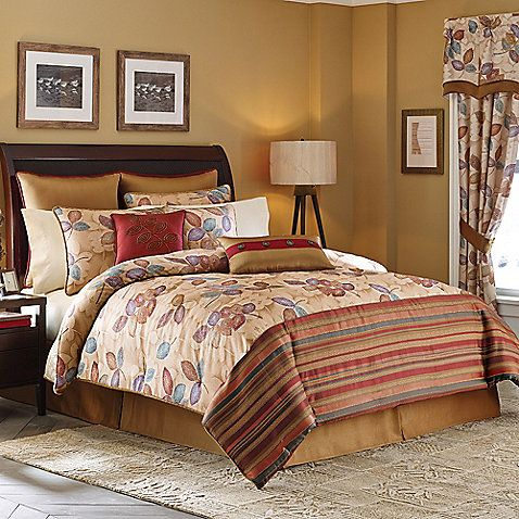 Bring a rich and warm look to your bedroom with the beautiful Croscill Mosaic Leaves Reversible Comforter Set. In a vibrant leaf pattern composed of mosaic-like details, the gold and red bedding instantly creates a cozy ambiance in any room.